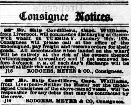 British Ship Cordillera Ad January 19, 1875.