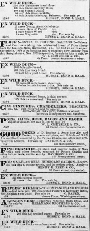 Wild Duck in San Francisco November 15, 1853.