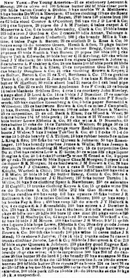Importations per Young America 1854.