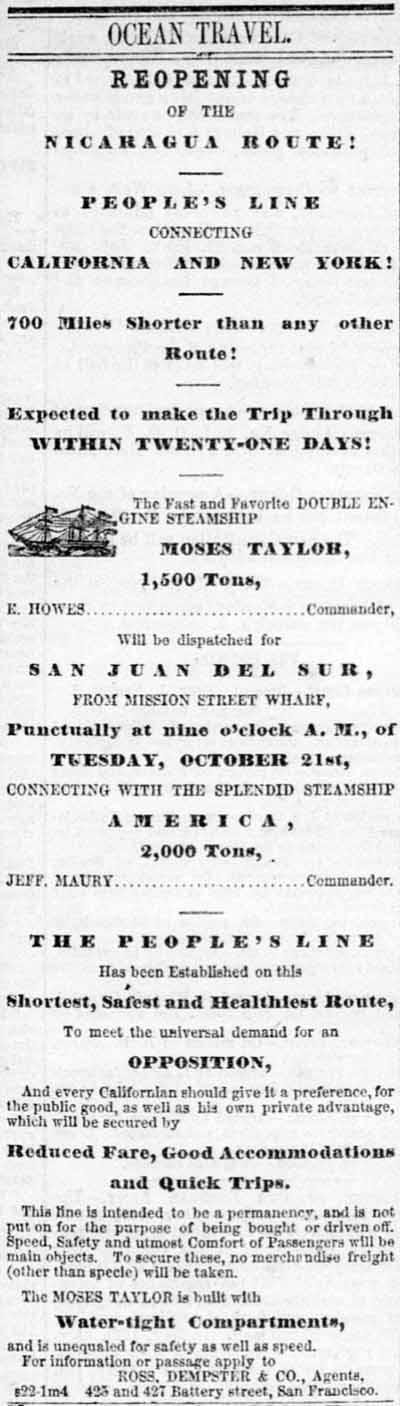 Aspinwall and Nicaragua Steamers, 1862.