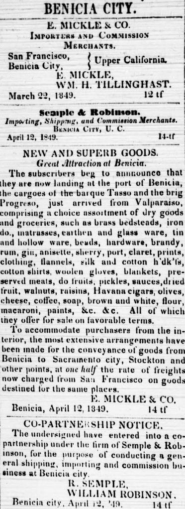 Benicia City Ad, April 12, 1849.