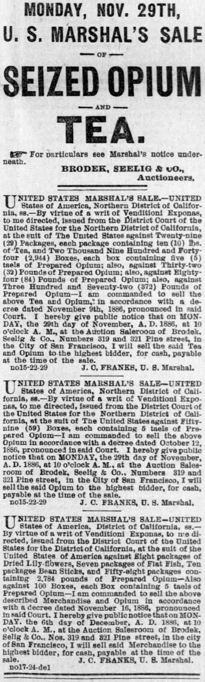 Sale of Opium in San Francisco November 25, 1886.