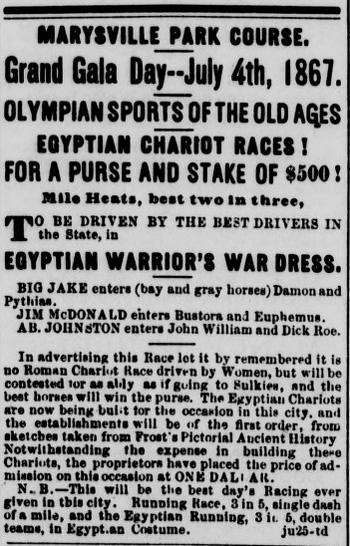 Egyptian Chariot Races in Marysville 1867.