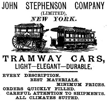 Ad for Stephenson cars, 1879.