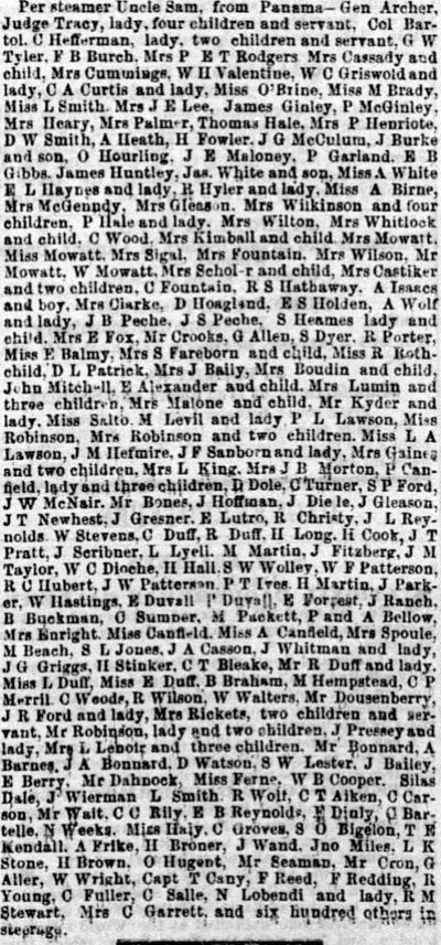 Arrival of the Steamer Uncle Sam June 2 1854.
