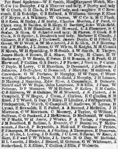 Passengers by the Samuel Appleton, July 21, 1852.